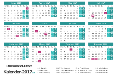Rheinland-Pfalz Kalender 2017 + Feiertage Vorschau