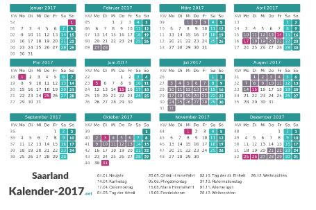 Kalender mit Ferien Saarland 2017 Vorschau