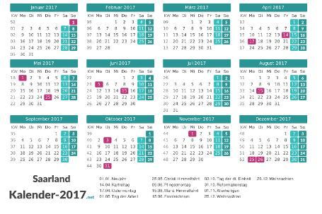Saarland Kalender 2017 + Feiertage Vorschau