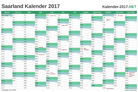 Vorschau Kalender 2017 für EXCEL mit Feiertagen Saarland