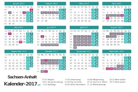 Kalender mit Ferien Sachsen-Anhalt 2017 Vorschau