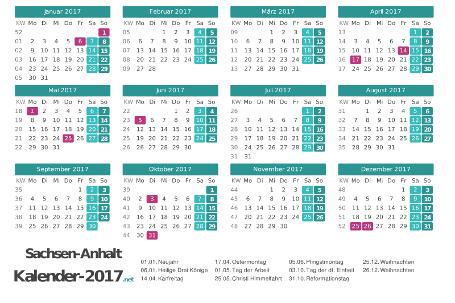Sachsen-Anhalt Kalender 2017 + Feiertage Vorschau
