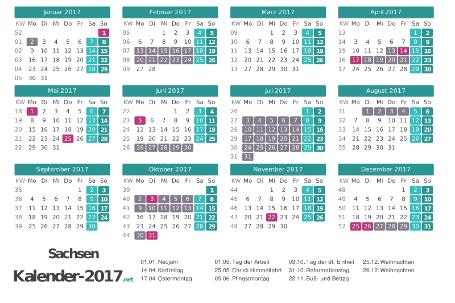 Ferien 2017 + Feiertage zum Ausdrucken - Sachsen Vorschau