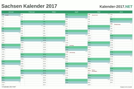 Vorschau Halbjahreskalender 2017 für EXCEL Sachsen