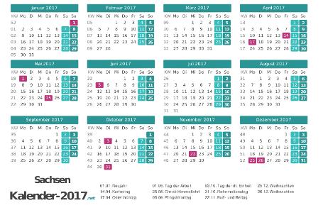 Sachsen Kalender 2017 + Feiertage Vorschau