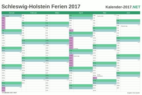Vorschau EXCEL-Halbjahreskalender 2017 mit den Ferien Schleswig-Holstein