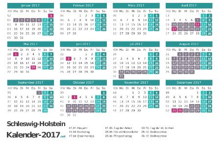 Kalender mit Ferien Schleswig-Holstein 2017 Vorschau