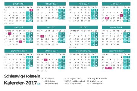 Feiertage Schleswig-Holstein 2017 zum Ausdrucken Vorschau