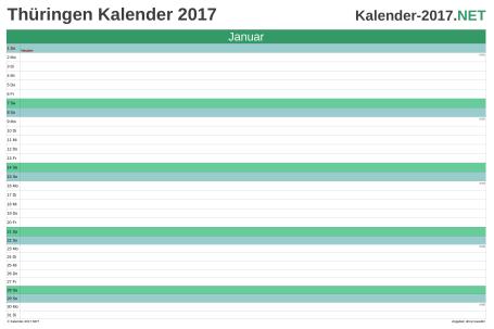 Vorschau Monatskalender 2017 für EXCEL Thüringen