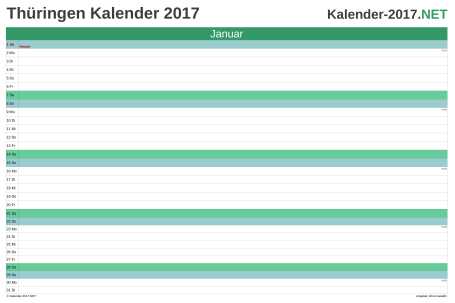 Thüringen Monatskalender 2017 Vorschau